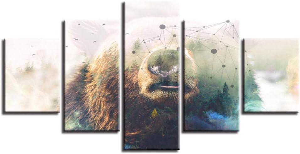 Jgophu 5 lienzos-Inicio Sala Estar coración la Pared HD Impreso Morno 5 Piezas Animal Salvaje y Constelaciones Cuadro Pintura Lienzo Modular Imágenes Arte 30x40x2 30x60x2 30x80cm