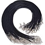 "Paxcoo 100PCS 2.0mm Black Waxed Necklace Cord Bulk with Clasp for Jewelry Making (18"")"
