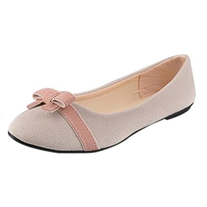 Lady Bowknot Flat Shoes Leisure Sweet Ballet Shoes (4.5 Beige)