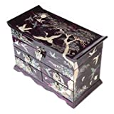 Mother of Pearl Crane and Pine Tree in Purple Mulberry Paper Design Wooden Jewelry Mirror Trinket Keepsake Treasure Gift Asian Lacquer Box Case Chest Organizer