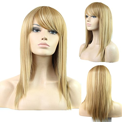 Red Blonde Wig - DENIYA Long Straight Blonde Wig With Bangs Cosplay Wigs for Women