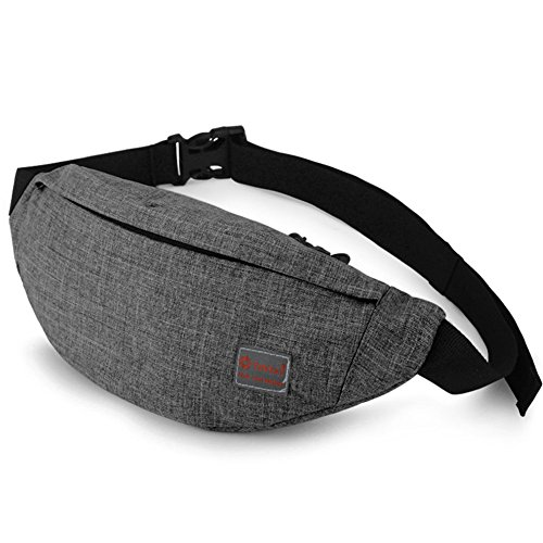 Tinyat Travel Fanny Bag Waist Pack Sling Pocket Super Lightweight For Travel Cashier's box, Tool Kit T201, Grey]()