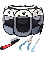 Pet Playpen, Breathable Pet Cage Tent for Indoors and Outdoors, Foldable Waterproof Scratch Portable Exercise Pet Fence, Pen Tent House Playground for Dogs and Cats