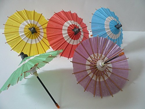 Set of 5 Japanese Hand-made Kasa Multi-Color Mini Umbrella Paper Parasol Deco (Handmade Umbrella)