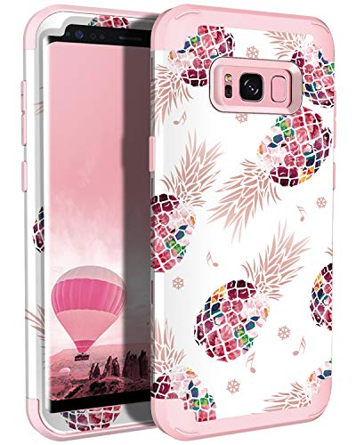 Lontect Compatible Galaxy S8 Plus Case Floral 3 in 1 Heavy Duty Hybrid Sturdy Armor High Impact Shockproof Protective Cover Case for Samsung Galaxy S8 Plus, Pineapple/Rose Gold