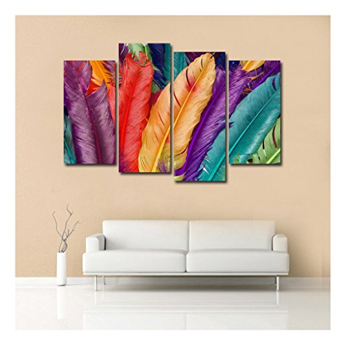 Luckygiftshop Q4251 Colorful Feathers Fantasy Four Piece Pictures On Walls Large Set Ready to Hang