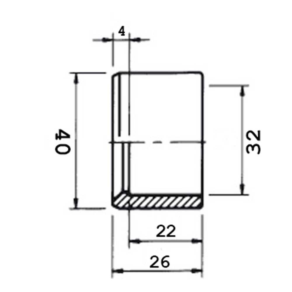 corto bussola tubo connettore 5 pezzi riduzione raccordo PVC incollaggio grigio diametro 32 mm x 40 mm