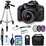 Canon EOS 1500D 24.1MP Digital SLR Camera (Black) with 18-55 IS II Lens, 32 GB Card, Tripod and other Accessories Bundle