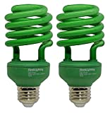 SleekLighting 23 Watt T2 Green Light Spiral CFL Light Bulb, 120V, E26 Medium Base-Energy Saver (Pack of 2)