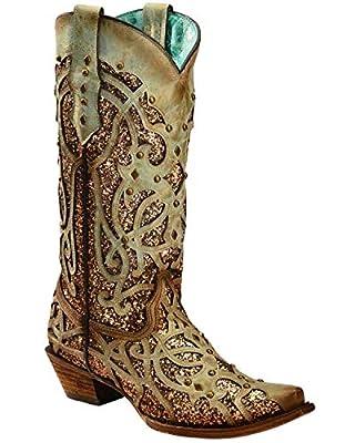 CORRAL Women's Mint Glitter Inlay Western Boot Snip Toe