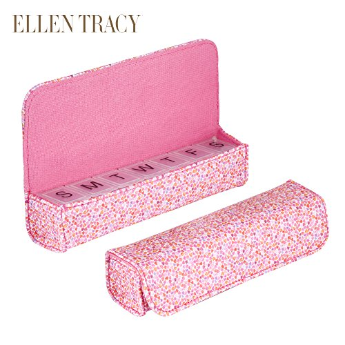 - Ellen Tracy Small Weekly Pill Case - Vitamins, Pill Organizer For Traveling - 7 Compartment (Pink Multi)