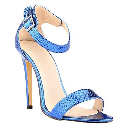 DULEE - Sandalias de vestir de piel para mujer Azul