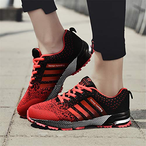 KUBUA Womens Running Shoes Trail Fashion Sneakers Tennis Sports Casual Walking Athletic Fitness Indoor and Outdoor Shoes for Women F Red Women 5.5 US/Men 4.5 M US by KUBUA (Image #4)