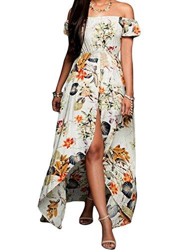 Floral Prom Dresses 2009 (YeeATZ Beige Multi-color Floral Romper Maxi Dress(Size,S))