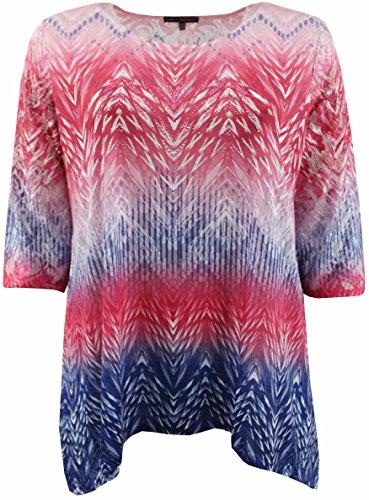 Women's Plus Size Rhinestones Asymmetrical Fashion Blouse Tee Shirt Knit Top Burgundy 1X (Tropical Print Knit Top)