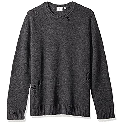 AG Adriano Goldschmied Men's Thoman Long Sleeve Destructed Crew Sweater: Clothing