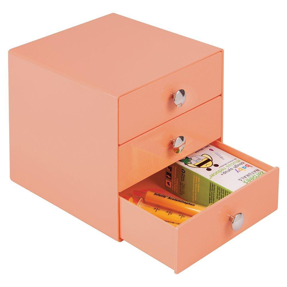 mDesign Wickeltischorganizer mit drei Schubladen - Schubladenbox zur Aufbewahrung von Babypflegezubehör - korallfarben MetroDecor SYNCHKG103161