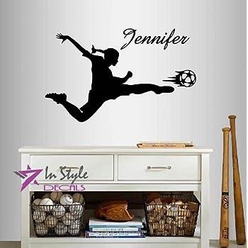 Wall Vinyl Decal Home Decor Art Sticker Silhouette Girl Woman Player  Football Soccer Kicking Ball Customized