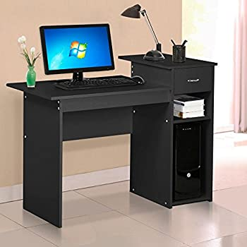 Yaheetech Home Office Small Wood Computer Desk With Drawers And Storage  Shelves Workstation Furniture (Black)