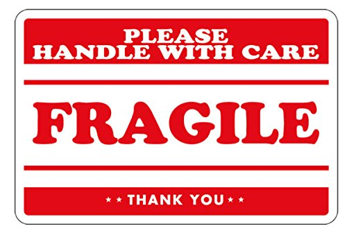 2' 500 Label (Fragile - Handle with Care Shipping Labels - 2'' x 3'' , 500 Labels Per Roll by The Boxery)