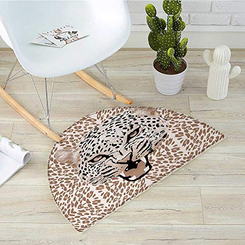 - Modern Half Round Door mats Roaring Leopard Portrait with Rosettes Wild African Animal Big Cat Graphic Bathroom Mat H 47.2