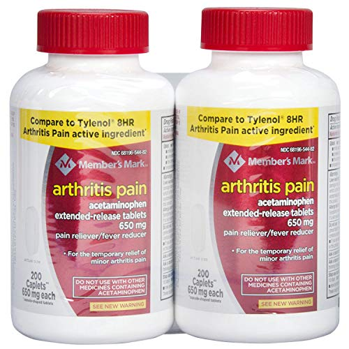 Member's Mark 650mg Acetaminophen Extended Release Pain Reliever Fever Reducer Arthritis Pain Caplets (2 bottles (400 caplets)) -