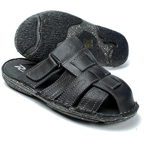 Labo Hommes En Cuir Véritable Sandales Chaussures Ultra Confort Doux Large Noir1
