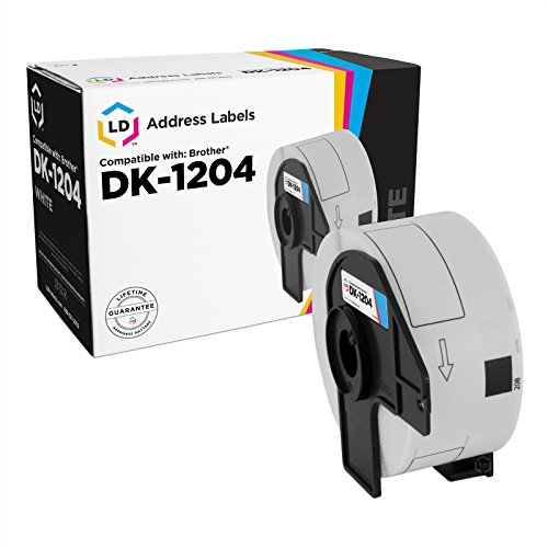 LD Compatible Brother DK-1204 White Labels: 0.66 x 2.1 (400 Sheets/Roll) for P-Touch QL-800, QL-810W, QL-820NWB, QL-1050, QL-1060N, QL-500, QL-550, QL-570, QL-580N, QL-650TD, QL-700, QL-720NW