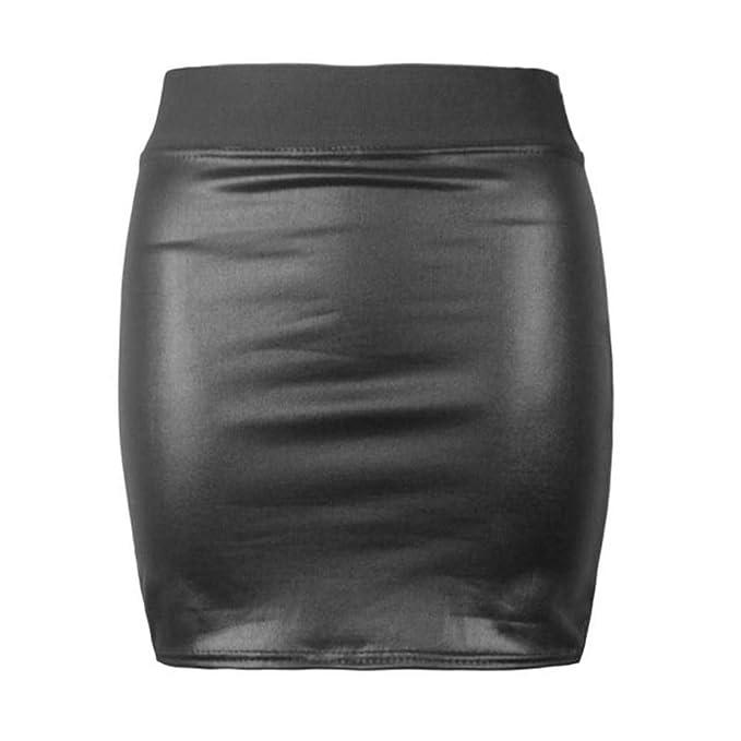 Girly Look Falda de Tela elástica de PVC para Mujer, de Cintura ...