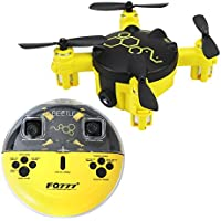 2.4GHz Six Gyro Beetle Foldable Drone Remote Controlled Rechargeable Mini Quadcopter Pocket Aircraft with Camera(Yellow-FQ04)