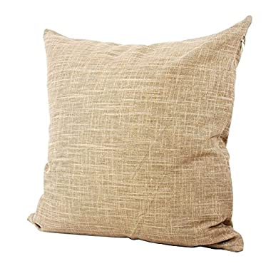 Lavievert Decorative Ramie Cotton Square Toss Pillowcase Cushion Cover Handmade Khaki Twinkling Throw Pillow Case with Hidden Zipper Closure 16 X 16 Inches