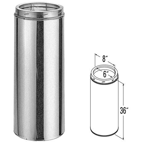 6'' x 36'' DuraTech Galvanized Chimney Pipe - 9406GA