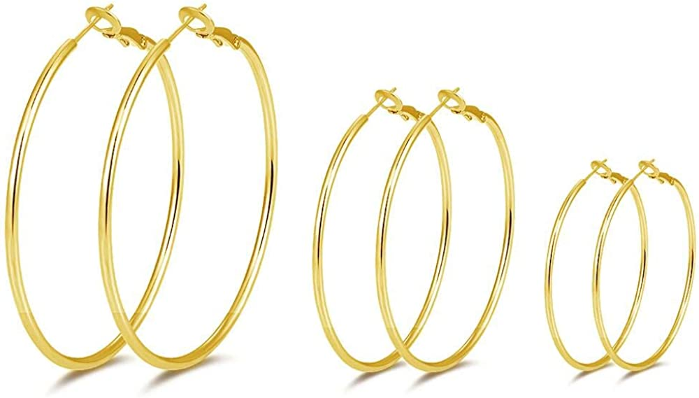 14K Gold Plated Hoop Earrings,925 Sterling Silver Hoop Earrings 3 Pairs Big Hoop Earrings Set For Women,Girls' Gifts(40/50/60MM)