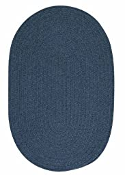 Solid Braided Wool Area Rug 4ft. x 6ft. Oval Federal Blue Simple Soft Carpet