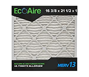Eco Aire 16 3 8x21 1 2x1 Merv 13 Pleated Air Filter 16 3