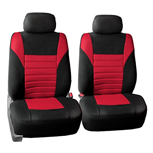 FH GROUP FH-FB068102 Premium 3D Air Mesh Seat Covers Pair Set (Airbag Compatible), Red / Black Color- Fit Most Car, Truck, Suv, or Van -