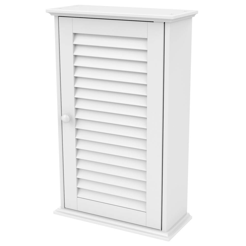 Topeakmart Bathroom/Kitchen Wall Mounted Single Louvered Door 3 Tier Adjustable Storage Shelf Medicine Cabinet/Cupboard by Topeakmart