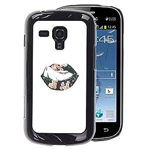 A-type Arte & diseño plástico duro Fundas Cover Cubre Hard Case Cover para Samsung Galaxy S Duos S7562 (Sexy Minimalist Lips Tongue Kiss Passion)