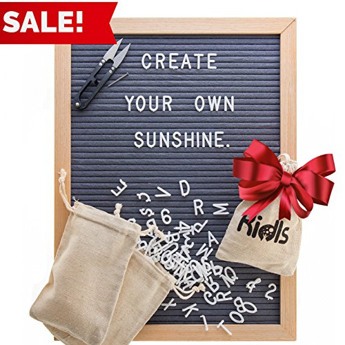 Design Mincing Board (Premium Felt Letter Board - 12x16 Wood Frame with 725 Changeable Letters, Numbers, and Symbols – Message Board Sign – Home, Office, and Wall Décor and Educational Toy + FREE Scissors by KidIs (Gray))