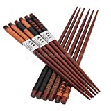 OLIVE US-6 Pairs Handmade Japanese Natural Chestnut Wood Chopsticks Set Value Gift