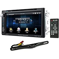 Package: Power Acoustik PD-651B 6.5 DVD/CD In Dash Car Monitor Receiver With Bluetooth, USB/SD and Steering Wheel Compatible + Rockville RBC5B Black Rearview Backup License Plate Bar Camera