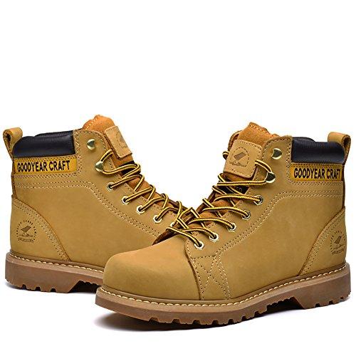 Insun Herren Stiefel Winter Boots Schnürhalbschuhe Damenschuhe Halbschaft Stiefel Gelb
