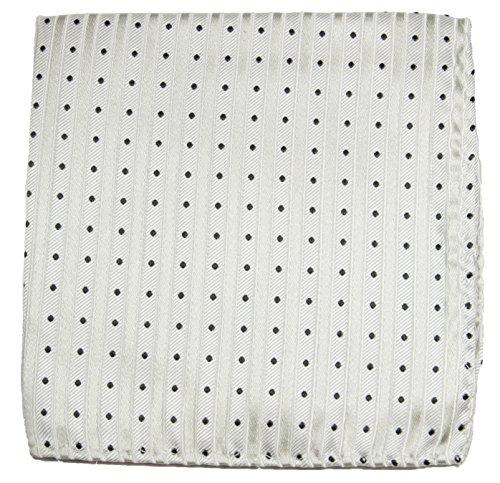 Cravate blanc argenté rayée ensemble de cravate 3 Pièces ( 100% Soie Cravate + Mouchoir + Boutons de manchette )