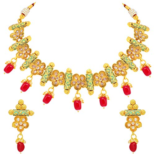 Aheli Ethnic Indian Wedding Wear Jewelry for Women Faux Stone Flower Design Meenakari Necklace Earring Set