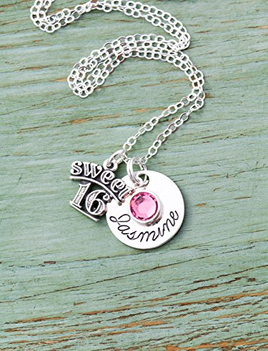 Sweet 16 Birthday Necklace - ROI - Handstamped Sterling Silver Name Charm - Personalized Girls Cute Birthday Gift - Sixteenth Teenager - Birthstone Crystal - 5/8 Inch Disc - Fast (Personalized Sterling Silver Crystal)