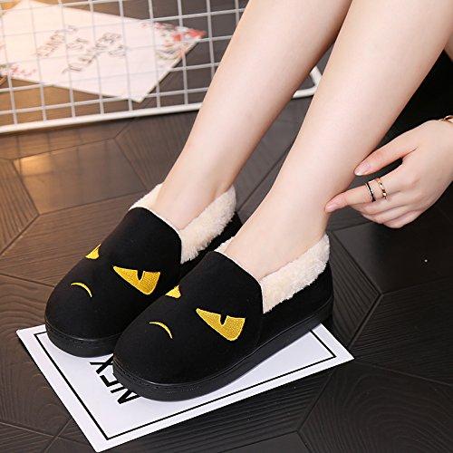Y-Hui un paio di stivali in inverno maschio Interni Casa Arredamento slip di cotone spessa pantofole Scarpe invernali femmina,260 (Fit per 37-38 piedi),Nero (Quan Bao)