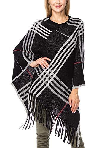 KLKD Women's Women Plaid Print Fringed Hem Knit Poncho Cape