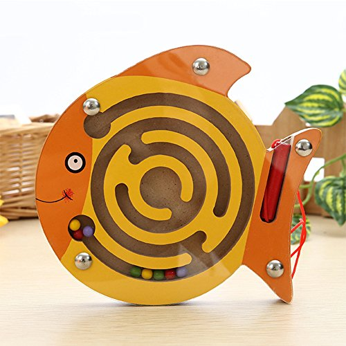 Qiyun Maze Toy Baby Small Pen Labyrinth Puzzle Toy Cartoon Animal Magnetic Maze Toy Intellectual Development Games Educational Blockstyle:small fish