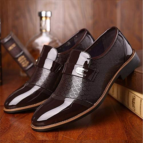 d9d8bae1c5799 Corriee Mens Leather Oxford Shoes Male Pointed Toe Suit Shoes Flats Men's  Business Shoes Dress Shoes for Wedding Brown