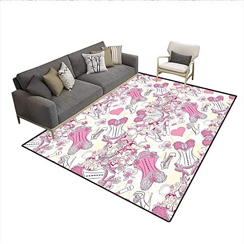 Carpet,Old-Fashioned Female Sexy Corset Accessories Vintage Girls Room Floral Design Print,Customize Rug Pad,Pink Beige 6'x8'